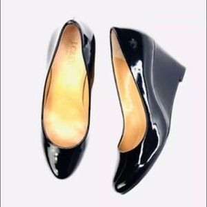 J Crew Martina Patent Leather Wedge Shoe-Black